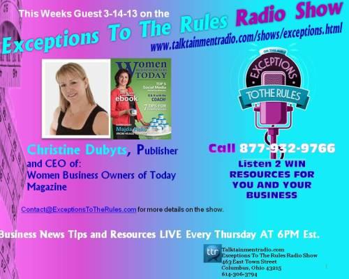 Exceptions Radio Show 3-14-13